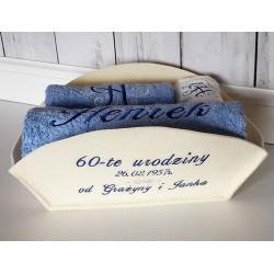 Ręczniki  w koszu z haftem