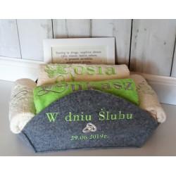 4 ręczniki w koszu w pełni personalizowane ŚLUB