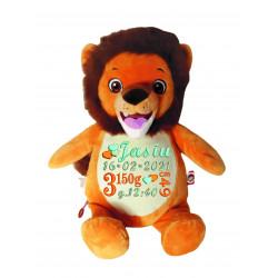 Tygrysek pluszowy z metryczką, imieniem lub dedykacją na  Chrzest Święty, urodziny