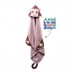 Ręcznik dla niemowląt małpka z metryczką lub imieniem